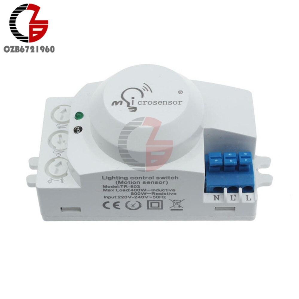 AC 220V mikrofalowy przełącznik czujnika ruchu mikroczujnik detektor przełącznik kontrolera przełącznik sterowania oświetleniem dla światła LED