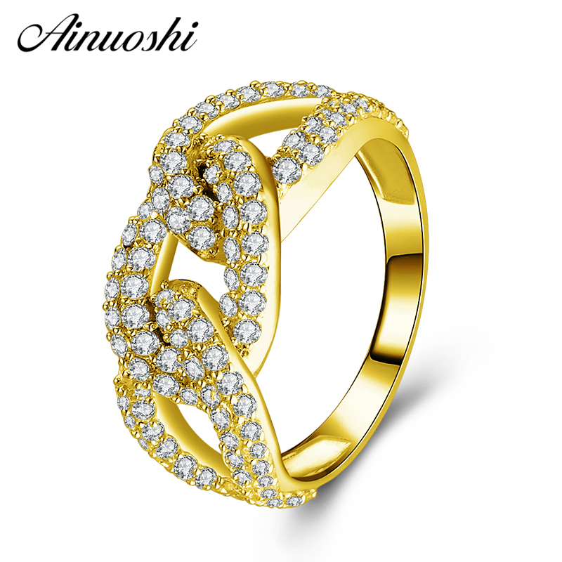 AINUOSHI 10K Solid Yellow Gold Link Chain Ring Shinning CZ Cluster Ring Luxury Bridal Band Ring Wedding Engagement Women JewelryAINUOSHI 10K Solid Yellow Gold Link Chain Ring Shinning CZ Cluster Ring Luxury Bridal Band Ring Wedding Engagement Women Jewelry