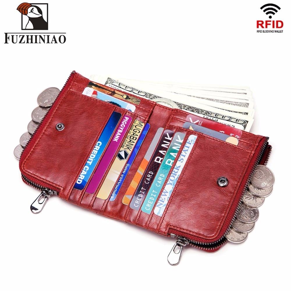 FUZHINIAO Genuine Leather Wallet Female Coin Women Purse Small Cuzdan Walet Portomonee Rfid Mini PORTFOLIO Card Holder Perse
