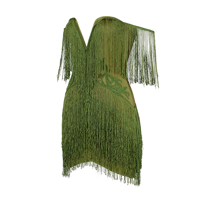 New Sexy Bandage Dress Off The Shoulder Clubwear Women Tassel Mini Runway Vestidos Strapless Evening Party Dresses