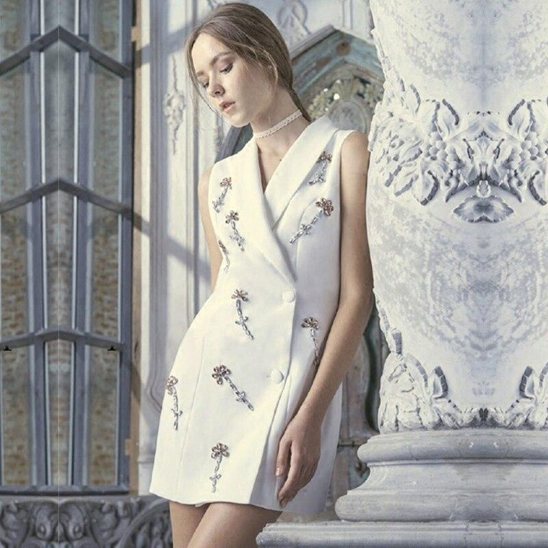 Long Manches De Blanc Dames Automne Bureau Pic Femmes Élégant Appliques Blazer Mode As Robe Sans Diamant V Cou 2017 qz60Fx0