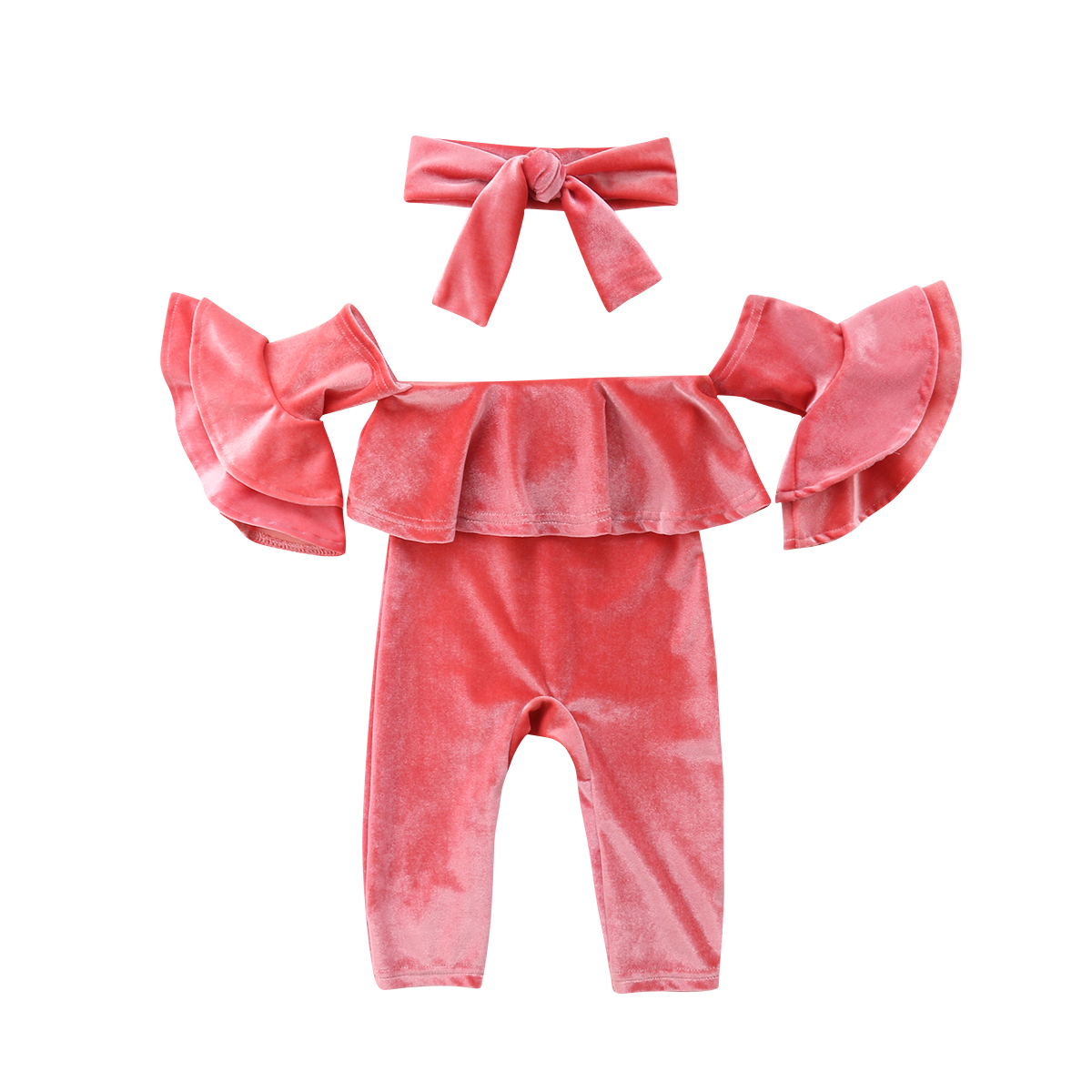 Newborn Kids Baby Girl Velvet Ruffle Off Shoulder   Romper   Flare Long Sleeve Jumpsuit Headband Outfits Clothes