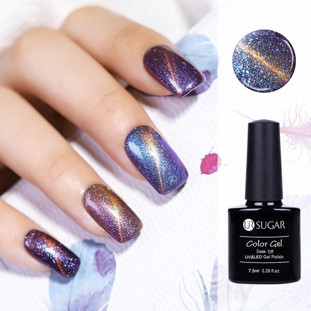 UR SUGAR 5ml 5D Wide Magnetic UV Gel Polish Glitter Starry Cat Eye Gel Varnish   eBay