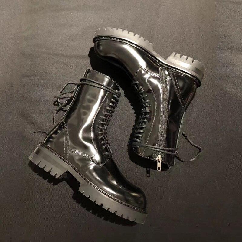 Altas Cordones Pasarela Invierno De Botas Con Para Cuero 2018 Pic Tacón Mujer As Zapatos Bajo qpYTtY7w