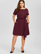 Gamiss Plus Size Belted Knee Length Dress With Pockets Women Clothes Summer 2017 Sexy O Neck Dress Vintage Office Work Wear