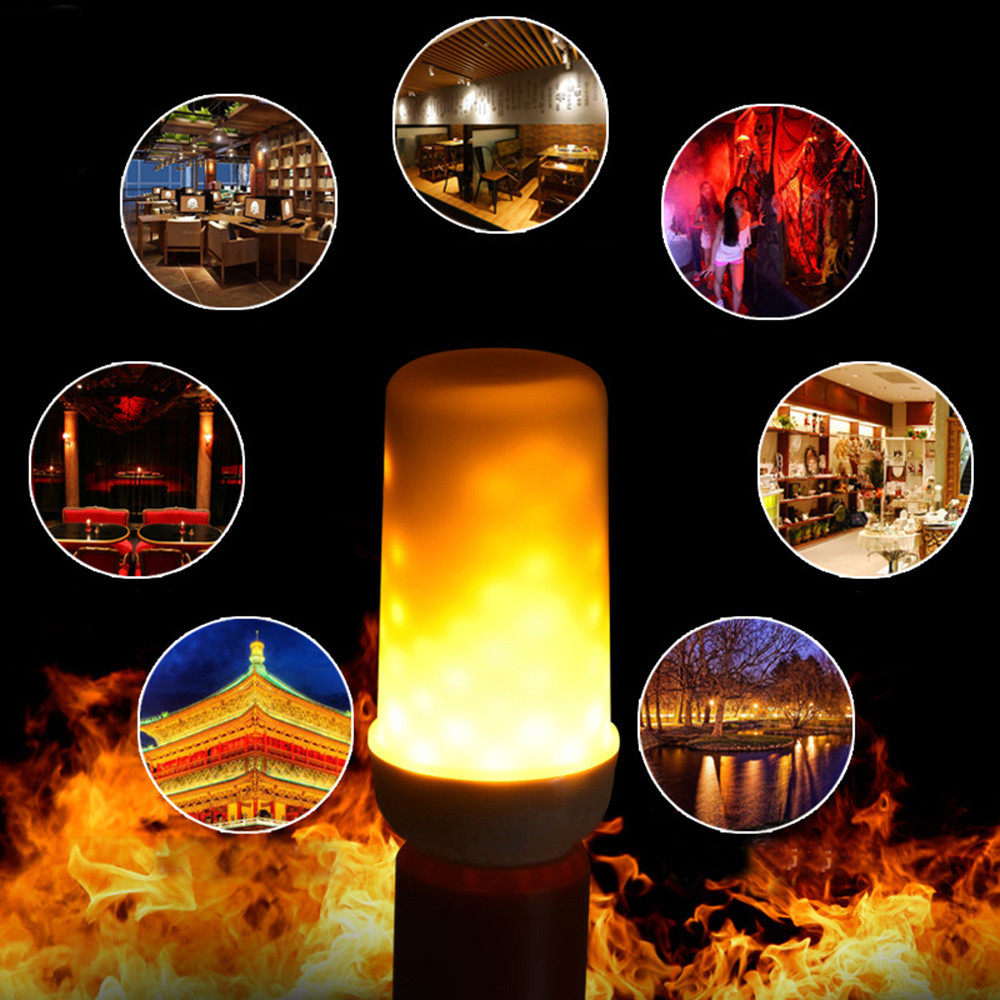 E27/E26/E14/E12 LED Flame Effect Fire Light Bulbs Creative Lights Flickering Emulation Vintage Atmosphere Decorative Lamp #DQ
