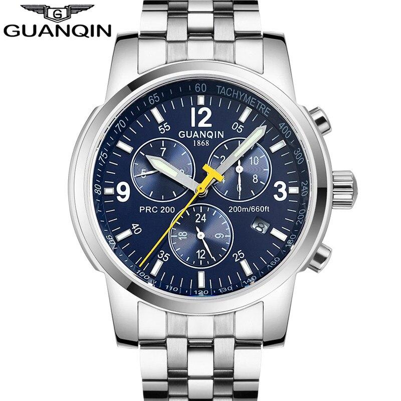Для мужчин S Часы Топ бренд класса люкс GUANQIN часы Для мужчин Самовзводные световой часы Спорт Полный Сталь наручные часы Relogio Masculino