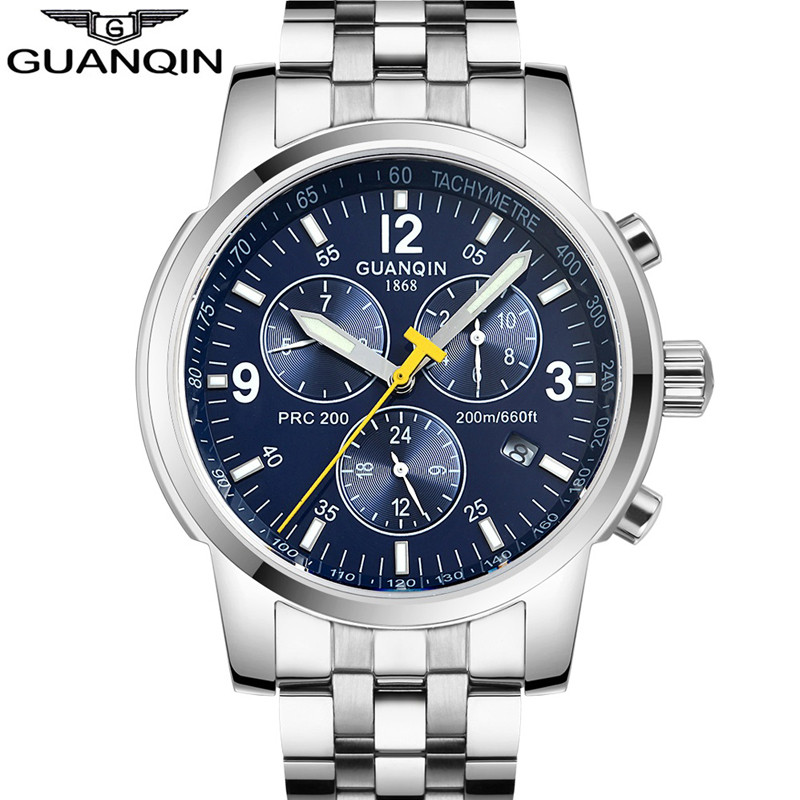 Mens Watches Top Brand Luxury GUANQIN Watch Men Automatic Self-Wind Luminous Clock Sport Full Steel Wristwatch relogio masculino sheng yu 20 f