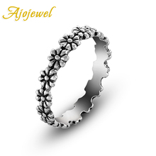 Ajojewel Anillos De Plata Antique Silver Plated Cute Little Daisy Flower Ring Women Vintage Jewelry Bagues