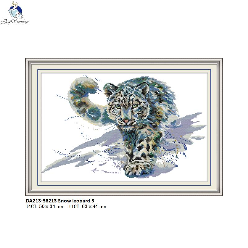 Printed Kits,Snow Leopard 11CT Pre-Printed Fabric Embroidery Crafts Needlepoint Kit Cross Stitch Counted Kits Stamped Kit Cross-Stitching Pattern for Home Decor
