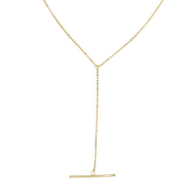 fashion gold color gold filled delicate thin chain Y shape simple delicate  women girl cheap bar necklace e76d58ea6