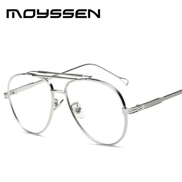 8d6c66e56b Moyssen Men s Vintage Pilot Double Beam Metal Eyeglasses Frame Clear Lenses  Women Brand Designer Oversized Myopia Eyewear Frames