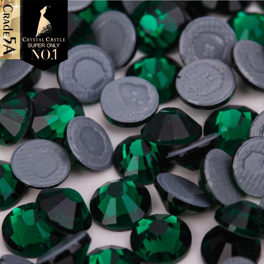 Crystal Castle Hot Fix Crystal Highest Grade 5A Color Rhinestones 2038 Green Hotfix Strass Glue Back Glass Rhinestone For Shoes