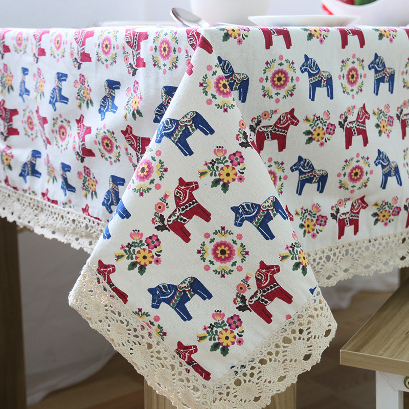Cute Colorful Flower Horse Printed Linen & Cotton Tablecloth Dustproof Lace Rectangular Table Cloth Wedding Home Cover