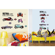 Retro cars collections wall stickers crazy fans room decor pvc children wall art diy boys girls kids room car sticker 7213. 4.0