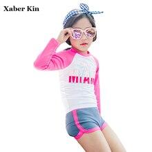 Xaber Kin/детский купальник с длинным рукавом для девочек, купальник из двух предметов, розовые купальники для девочек, пляжные купальные костюмы для девочек, G19-K24