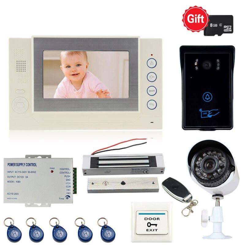 JEX 7`` TFT Video Door Phone Doorbell Intercom system kit video record Monitor + RFID Access COMS Camera + CCTV Camera+power