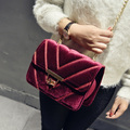 Winter Classic new Box Velvet China Ladies Crossbody Famous Brand Designer Small Flap Bags Women Lock Stewardess Shoulder Bags
