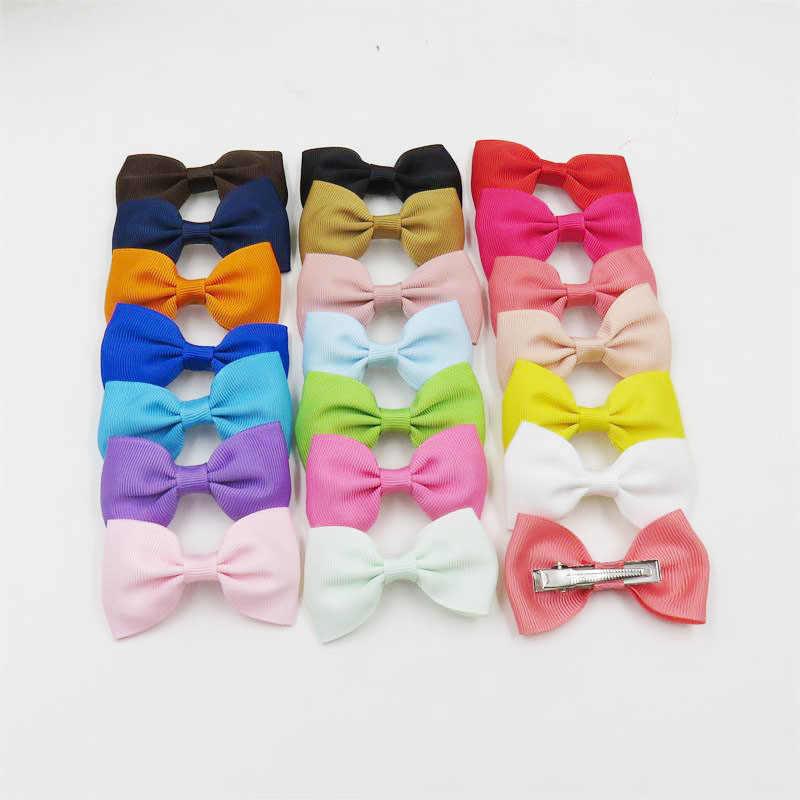 20PCS/Lot Solid Boutique Grosgrain Ribbon Girl Small Bow Elastic Hair Tie Clip Hair Band Bow DIY Hair Accessories Best Gift