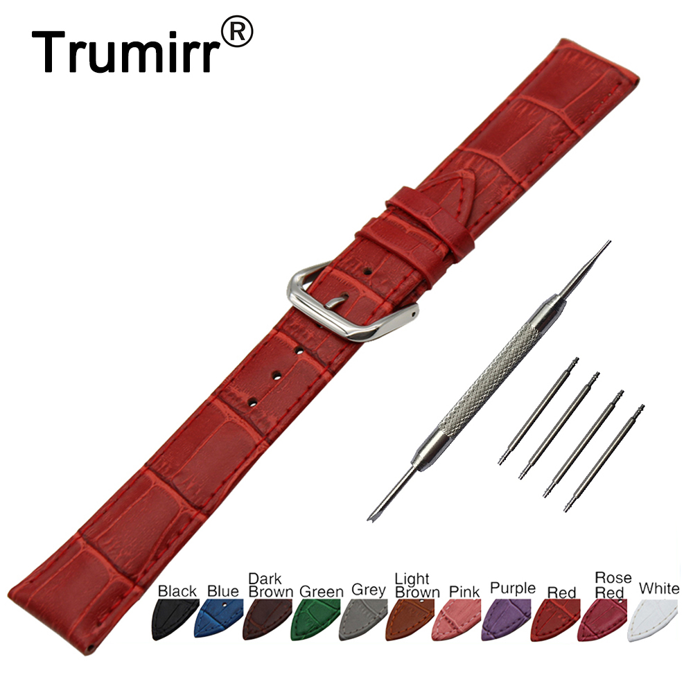 22mm Croco Genuine Leather Watch Band for Ticwatch 1 46mm Stainless Steel Pin Buckle Strap Wrist Belt Bracelet + Spring Bar silicone rubber watch band 15mm 16mm 17mm 18mm 19mm 20mm 21mm 22mm for mido stainless steel pin buckle strap wrist belt bracelet
