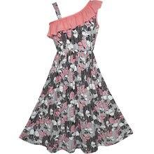 Sunny Fashion платья для девочек Одно плечо Цветок Вечеринка день рождения