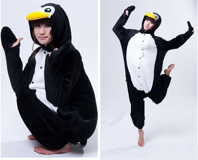 Free Sphipping New Adult Black penguin Flannel Pajamas Kigurumis Onesies Couple Dress Nonopnd Soft Warm Pyjama Loungewear