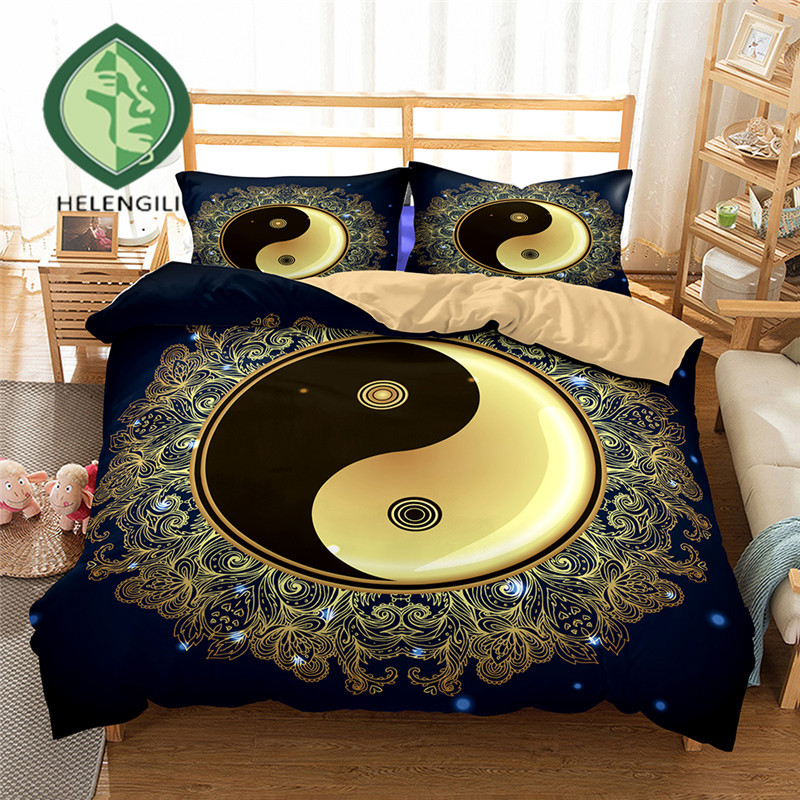 HELENGILI 3D Bedding Set Yin Yang Print Duvet Cover Set Lifelike Bedclothes With Pillowcase Bed Set Home Textiles #2-10