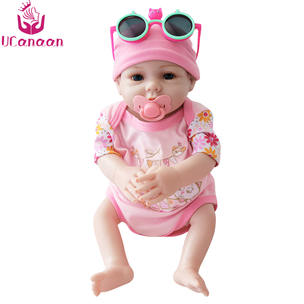 UCanaan 20'' Handmade Doll Reborn Silicone Baby Alive Dolls Kawaii Children Toy Baby New Born Lifelike Toys For Girls Collection baby born dolls handmade doll bjd dolls reborn silicone baby dolls accessories lol kid toy gift kawaii brand dropshipping