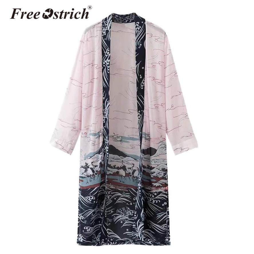 free ostrich 2017 kimono cardigan long crane print long. Black Bedroom Furniture Sets. Home Design Ideas