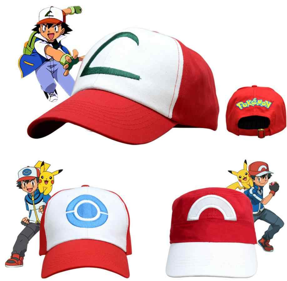 NEW Anime Pocket Monster Ash Ketchum Cosplay Costumes Hats Pokemon Cap Adjustable Curved Visor Hat Baseball Cap