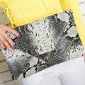2016 Brand New Women's Synthetic Leather Snake Skin Envelope Bag Sexy Luxury Day Clutches Purse Evening Bags