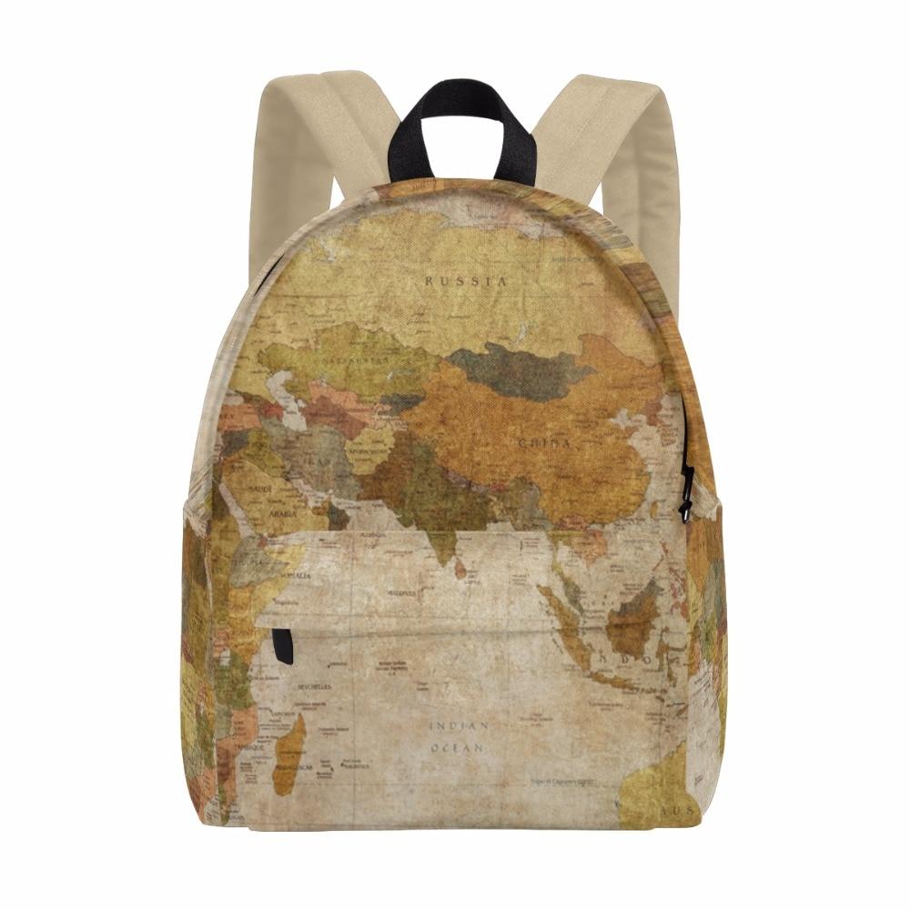 Unicreate Russia World Map Women Bags Book Bag Canvas Men Backpack Travel Daypack Girls' Zipper School Children Learning Bag learning carpets us map carpet lc 201
