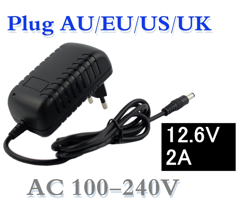 12.6V 2A 18650 lithium battery charger DC 5.5MM*2.1MM Portable Charger EU/AU/US/UK Plug 12.6 v charger