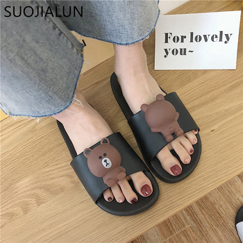 SUOJIALUN Women Slippers Cute Cartoo Bear Sandals Summer Fashion Slip On Beach Flip Flops Women Indoor Bathroom Flat Slides