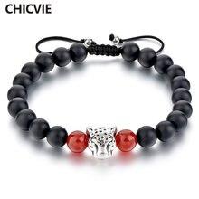 Chicvie посеребренный браслет с леопардовой головкой черный