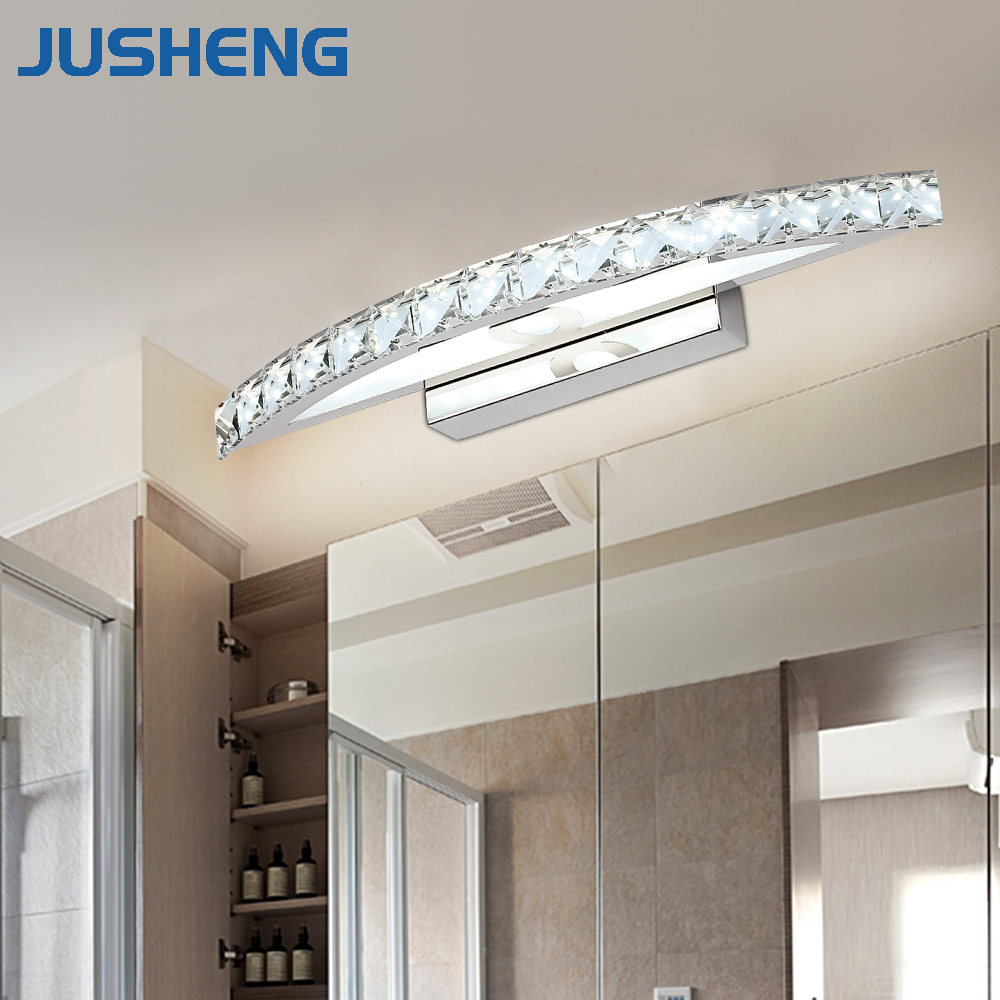 Modern Crystal Mirror Wall Lamps in Bathroom 18W LED Sconces Lamps Warm White & Cool White 70cm Long 8w 36cm bathroom led mirror light ac85 265v warm white led modern wall lamps white aluminum wall sconce wml002