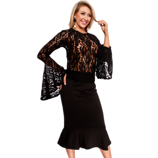6c64017ff2e Sexy See Thru Lace Tops Midi Skirts Suits Two Pieces New Autumn Style Black white  Flare Sleeve Fishtail Package Hips Skirts Set