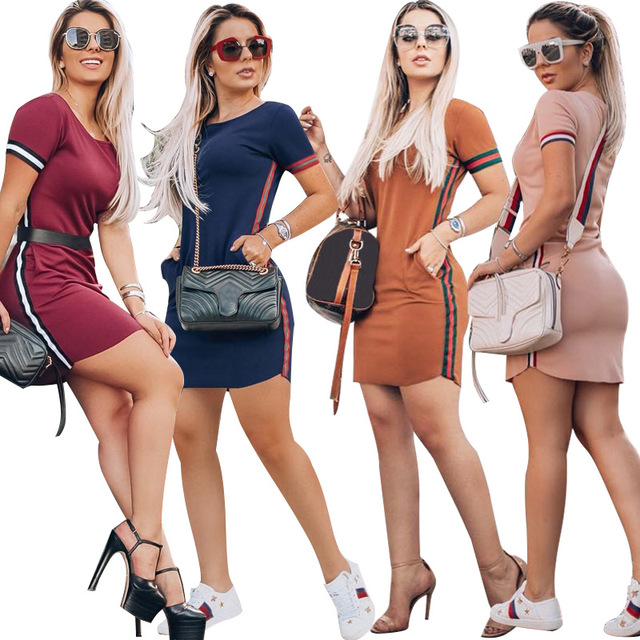 YZ Women's Sexy D 2019 New Summer Short Sleeves Collage Contrast Webbing Hips Skinny Casual Feminino Sexy Dress