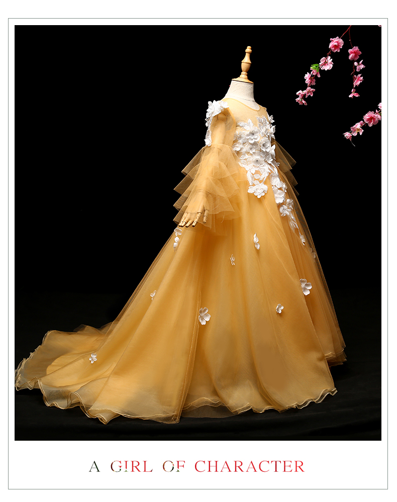 luxury children girl 3d flower flare sleeve medieval long gown princess dress studio stage performance fairy cosplay wonderland