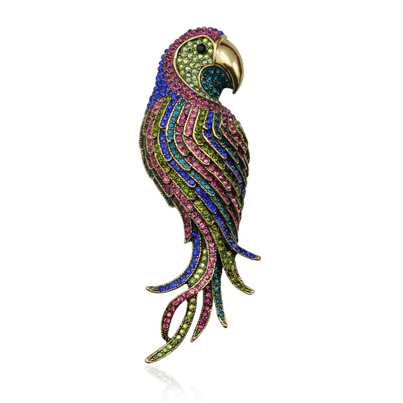Multi Colors Crystal Rhinestone Parrot Brooch Pin Animal Fashion Jewelry Accessory Garment Accessory Gift 2016