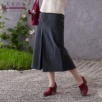 Life In The Left Spring & Autumn Linen Vintage Lady Split Skirt A line OL Elegant Skirts Women Slim Jupe Femme Office Saia