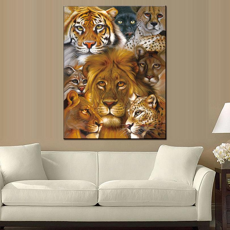 1 PCS Tiger Lion Cat Leopard Canvas Painting Animal Wall Art Prints on Canvas Modern Paintings For Home Decor-in Painting u0026 Calligraphy from Home u0026 Garden ... & 1 PCS Tiger Lion Cat Leopard Canvas Painting Animal Wall Art Prints ...
