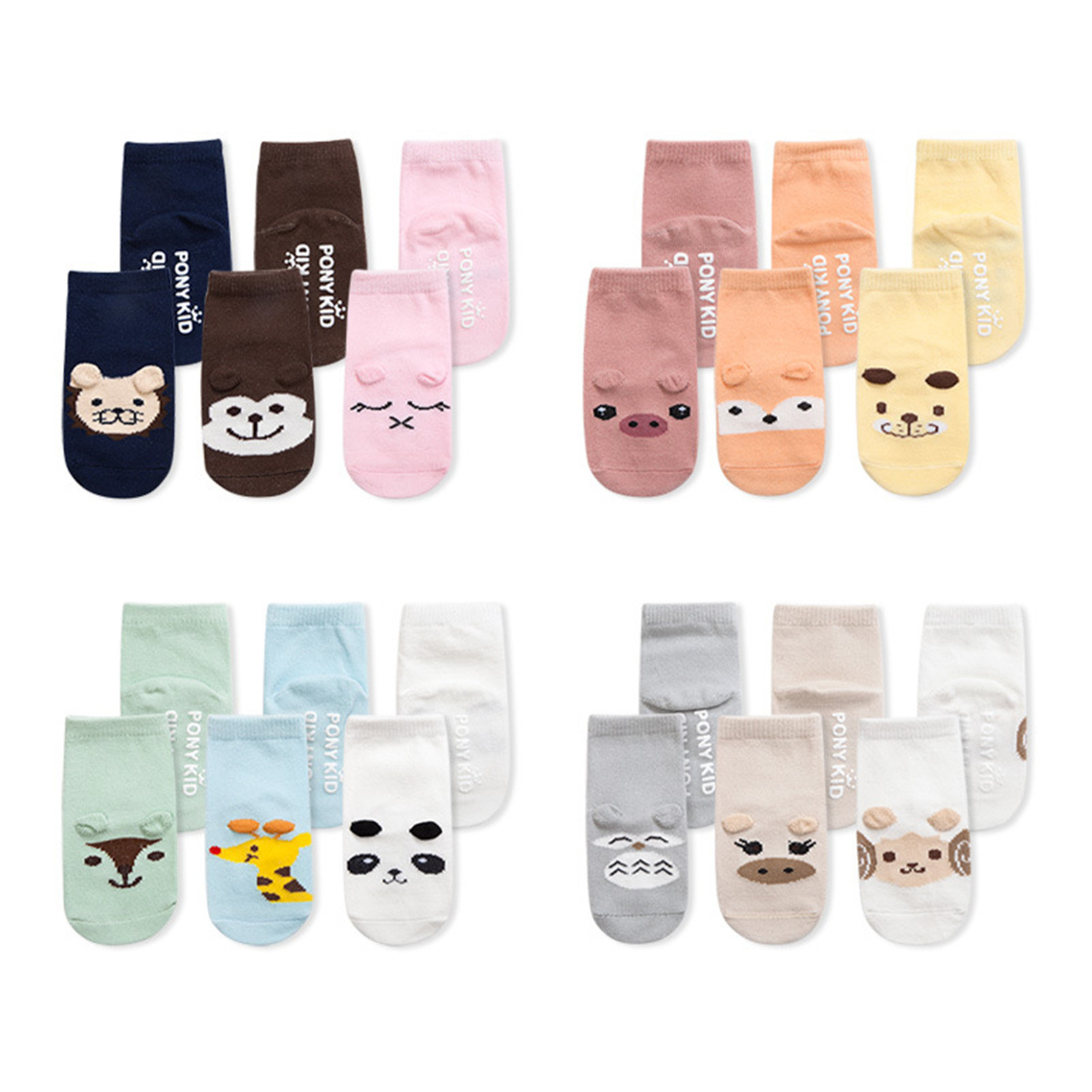 Bomuld Anti Slip Baby Sokker Newborn Infant Boys Piger Sokker Kawaii Cartoon Animal Design For 0-2 Years Kids