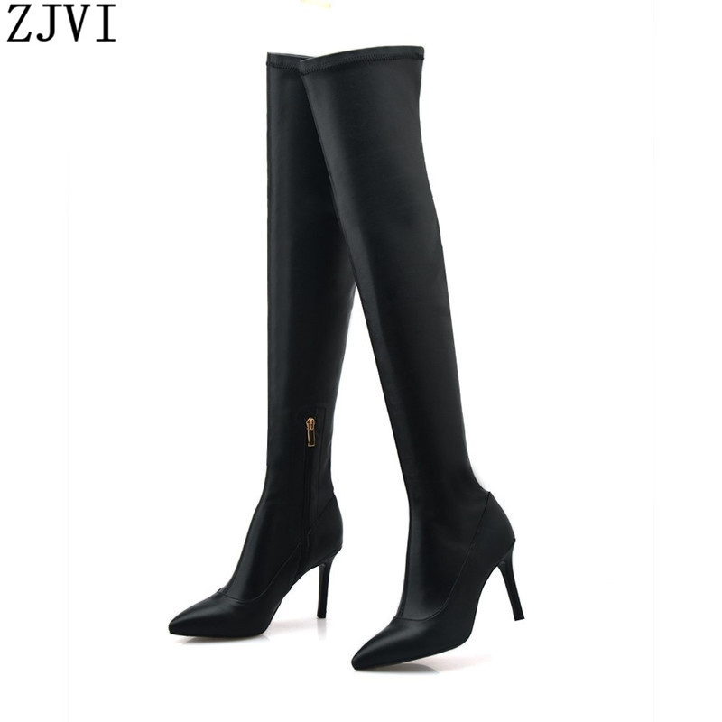 ФОТО ZJVI ladies fashion winter woman boot genuine leather PU women black pointed toe high heels shoes sexy thigh knee high boots