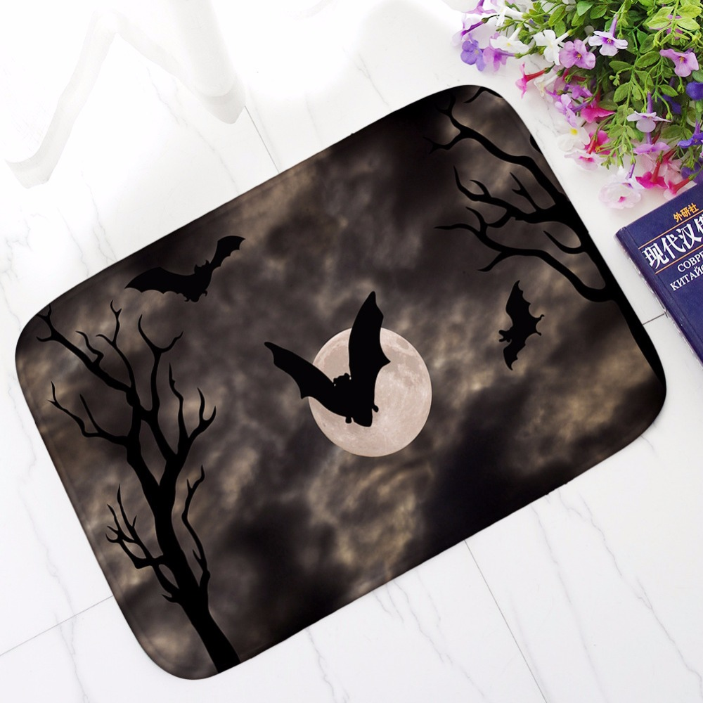 Flannel Waterproof Door Mat Halloween Skull Cartoon Carpet Bedroom Rug Decorative Stair Mats Home Decor Crafts Kitchen Tapete