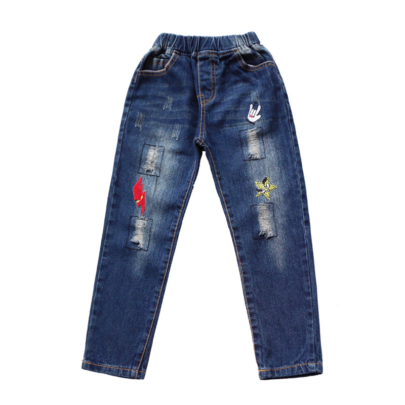 Girls Jeans Pants Ripped Jeans 2018 New Fashion Children Clothing 4 5 6 7 8 9 10 11 12 13 Years Skinny Elastic Waist Kids Pants