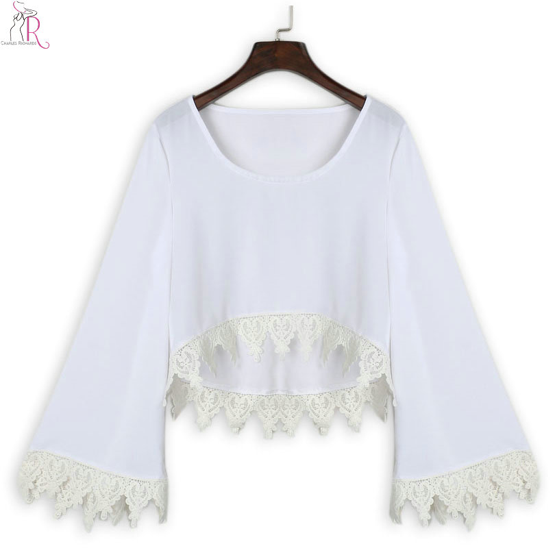 5194bbce1e9 Women White Long Flare Sleeve Crop Top Lace Crochet Hem Loose 2017 Spring  Autumn Casual Short Sexy Chiffon Blouse-in Blouses & Shirts from Women's  Clothing ...