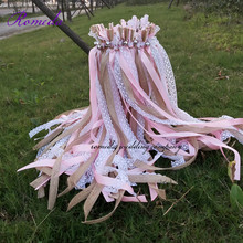 70pcs/lot Pink jute lace wedding Ribbon Wands with big sliver Bells for party