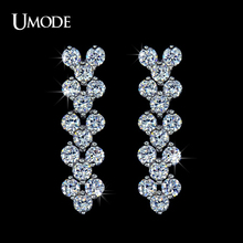UMODE Bijoux Unique Design Long Earrings With AAA+ CZ  Plant Shaped Stud Earrings For Women Fashion Jewelry AUE0040
