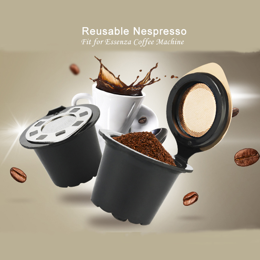 ICafilas Reusable Refillable Nespresso Coffee Capsule With Plastic Filter Pod Birthday Gift 20ML Filters Kitchen Dining Bar
